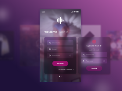 Daily UI Challenge #01 MusicApp Sign Up