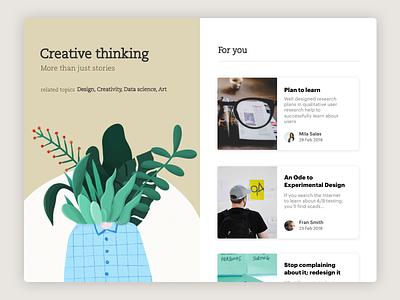 Daily UI Challenge #35 Blog Post creative creativity illustration design web article blogger post blog