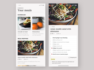 Daily UI Challenge #40 Recipe challenge daiyui diary meal salad vegan cooking recipe