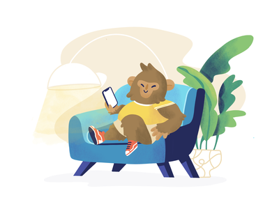 Smart Monkey onboarding illustration onboarding delivery app character monkey animal background food delivery design app illustration