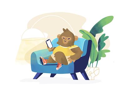 Smart Monkey onboarding illustration onboarding delivery app character monkey animal background food delivery design app illustration