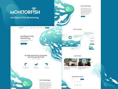 monitorfish farming startup screen mainpage how it works water landing page technology economic aquaculture aqua design fish monitoring intelligent ux ui illustration