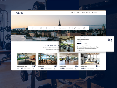 Web app for TravelTech startup Boddy business trip dance health fitness website fitness club fitness barcelona london stockholm hotel travel