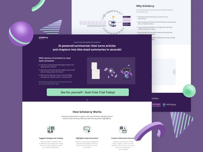 UX/UI Design for Scholarcy violet robot summirizer summary tool instrument ux academic papers paper reading ai innovation