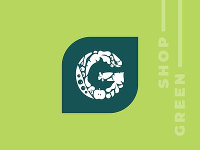 Logo for Green Shop corn fruits veggies frozen food shopping logo yellow groceries grocery shop green