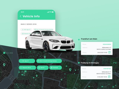 iOS/Android app development, UX/UI design for Movacar booking service booking car rental app rental app auto rental automobile car service rental service green and white vehicle vehicle rent car rental car rent car android development ios development