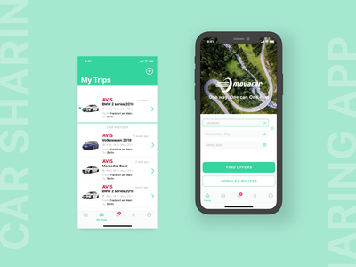 iOS/Android app development, UX/UI design for Movacar vehicle services green and white green identity native app development native apps native app ux design vehicle rental vehicle car rental car rent car service service car