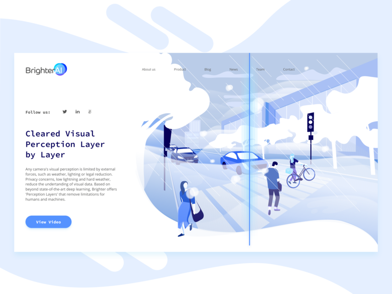 Brighter.ai paint design ux ui illustration people traffic road visual data startup landing page startup social perception privacy artificial intelligence ai