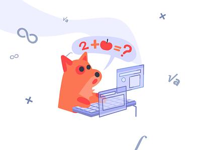 Math dog education question illustration charachter design mascot mascot character animal dog dog art math mathart mathematica
