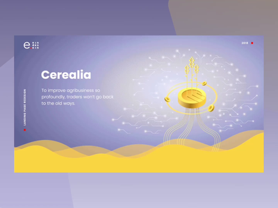 Cerealia coin ux ui grain animation landing page landing design blockchain finacial agricultural agriculture trading block chain