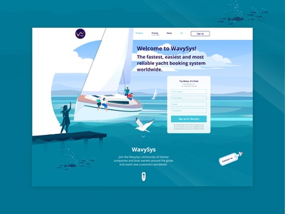 Wavy booking system menu sign up screen main page flat illustration booking yacht yachting ocean sea boating boat people branding ui web paint design illustration