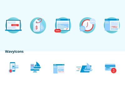WavyIcons card time message icon vector typography illustration branding sale boat icons icon set