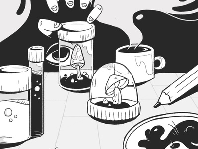 The Lab grayscale gray blackandwhite character design graphics motion illustration