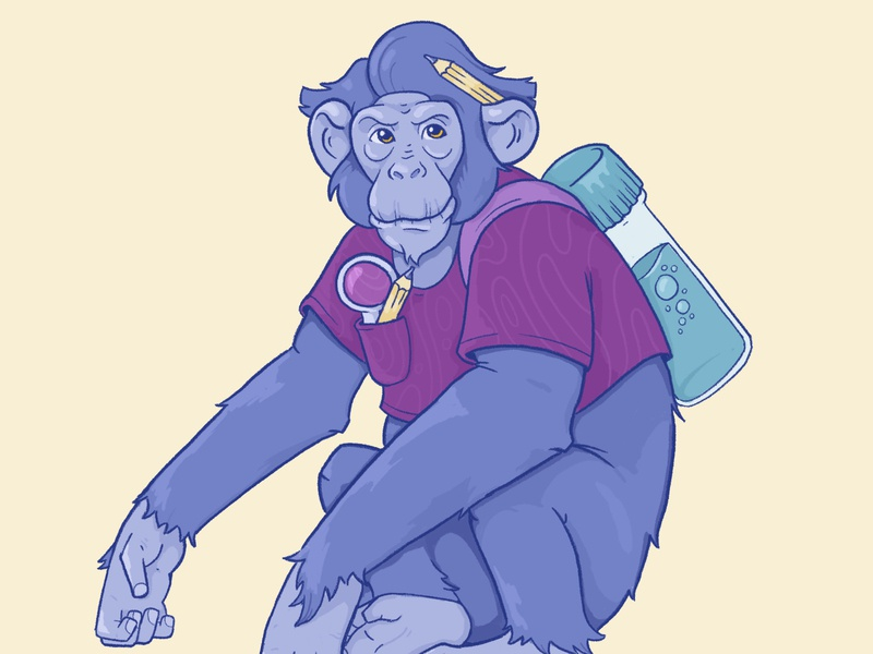 Monkey scientific colourful colorful design motion character graphics illustration