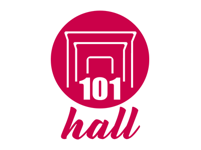 101 HALL - LOGO party hall brand design illustration red 101 hall bezews logo
