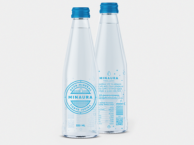 Água Minaura - Bottle water conception design packaging pictogram icon blue minaura bottle water bezews design logo water