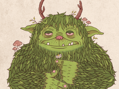 Forest Creature texture goblin troll ogre monster creature forest nature watercolor character design childrens literature childrens book illustration