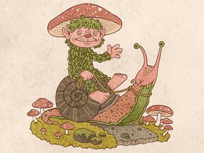 Forest Creature 2 watercolor children book illustration creature woodland mushroom fairy goblin snail nature forest texture illustration