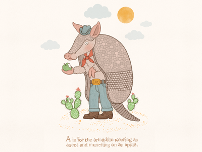 A is for Armadillo typography alphabet armadillo childrens books watercolor handlettering lettering illustration