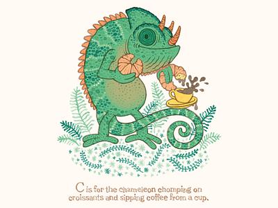 C is for chameleon childrens illustration childrens books watercolor chameleon typography hand lettering illustration