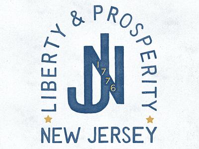 NJ Monogram americana logo seal sans serif texture monogram new jersey nj