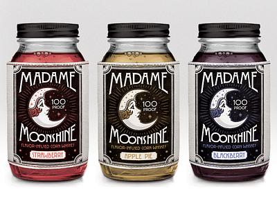 Madame Moonshine  mason jar moonshine stars moon illustration artdeco handlettering vintage liquor label design packaging design