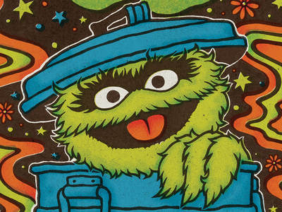 Psychedelic Oscar the Grouch typography hand-lettering pattern green illustration sesame street vintage retro 70s psychedelic