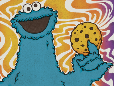 Psychedelic Cookie Monster vintage typography street sesame retro psychedelic pattern illustration hand-lettering green 70s cookiemonster