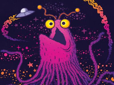 Neon Kaiju Yip Yip sesame street yip yip aliens vintage texture illustration
