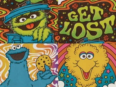 TOP 4 of 2018 psychedelia psychedelic 70s typography hand lettering illustration cookie monster big bird oscar the grouch sesame street