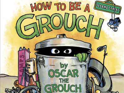 How to be a Grouch watercolor oscar the grouch sesame street vintage typography illustration lettering handlettering