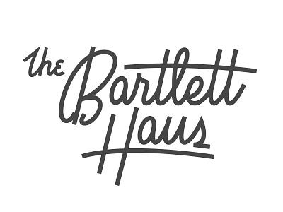 The Bartlett Haus vintage script monoline hand lettering logo mid century