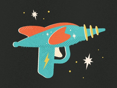 Retro Toy Blaster wip pattern illustrator halftone texture gun blaster vintage toy retro