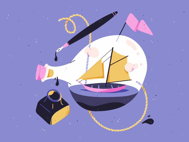 Adventure in a bottle ink adobe flag sea travel pen bottle ship photoshop design illustration