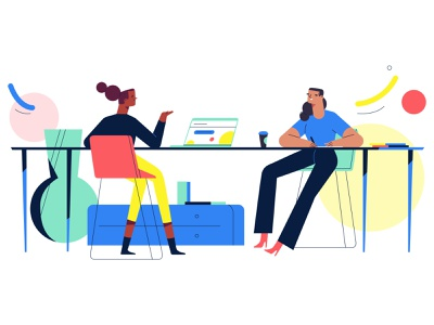 Chit-chat after effects colorful flat woman laptop work desk brevio motion video photoshop character design illustration
