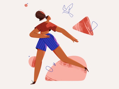OBLIVION shapes jump woman movement run photoshop illustration character design