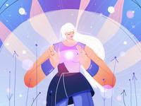 LIGHT heroine hands pink magic hair girl photoshop character design illustration