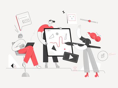 RedWood Studio01 office tablet collaboration studio motion photoshop character design illustration