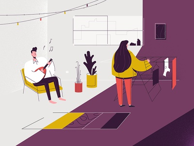 Weekend chill design daylight music illustration living room laundry mandoline weekend
