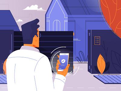 Unlock it! simple illustration design uiux door man application app
