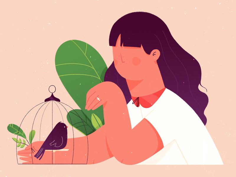 Birdie woman hair design illustration delicate cage bird leaf plants girl