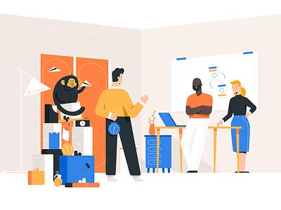 A little surprise office monkey gift surprise programming people work design application character design software house uiux it illustration
