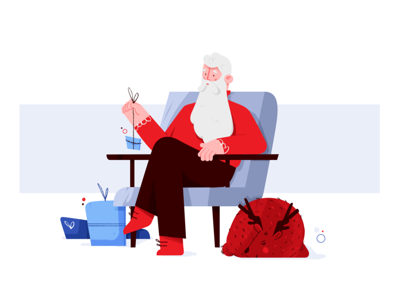 Resting Santa nicholas character design programming holidays merry new years eve christmas software house uiux chair gift illustration reindeer santa