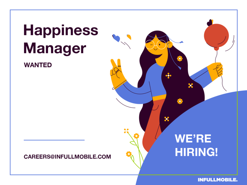 Happiness Manager butterfly baloon flower application careers happy girl character design programming design uiux illustration software house job offer peace manager