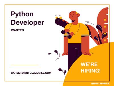 Python Developer application careers work illustration design man software house uiux programming leaves snake character design hiring job offer