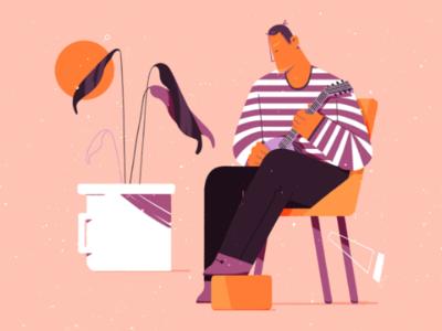 Cosy play chair cosy music illustration photoshop plant man play mandolin