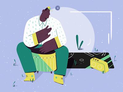 Big drum sound jamaica design radio beat music drum green pattern photoshop character design illustration man