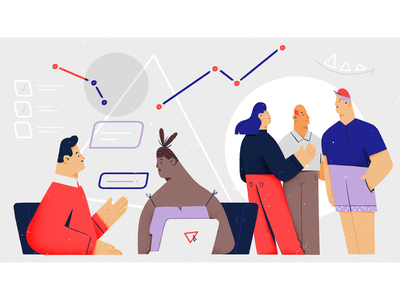 Startup Delights illustration design innovative talk meeting graph application uiux programming character design people software house startup