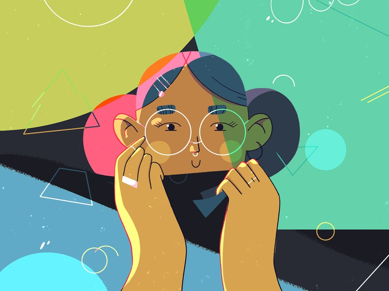 Happy Scarf shapes glasses face geometry characterdesign girl illustration