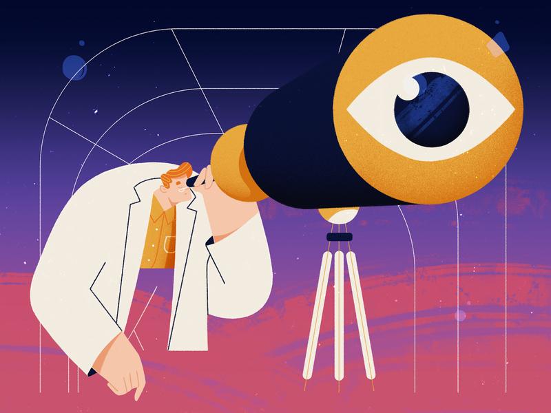 Observer scientist science eye photoshop observer telescope stars design character design illustration